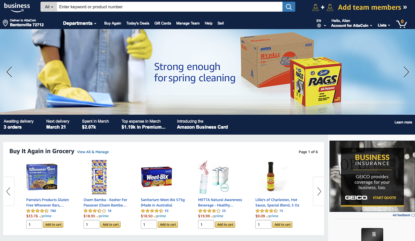 Amazon Business Page