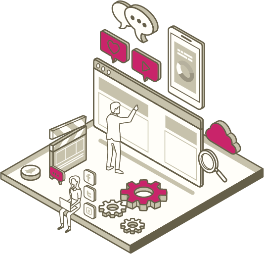A man and woman work while surrounded by different eCommerce symbols such as: social media logos and video icons.