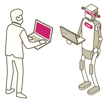 A man and a robot stand face to face symbolizing our ability to utilize automation to drive your eCommerce sales.