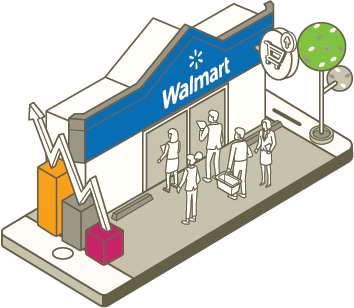 Shoppers lining up to buy products from Walmart.