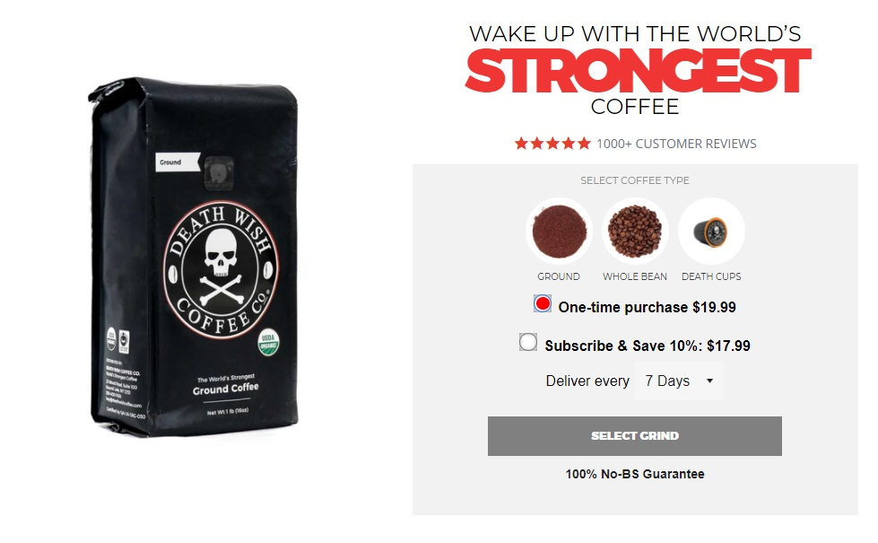 Death Wish Coffee product page