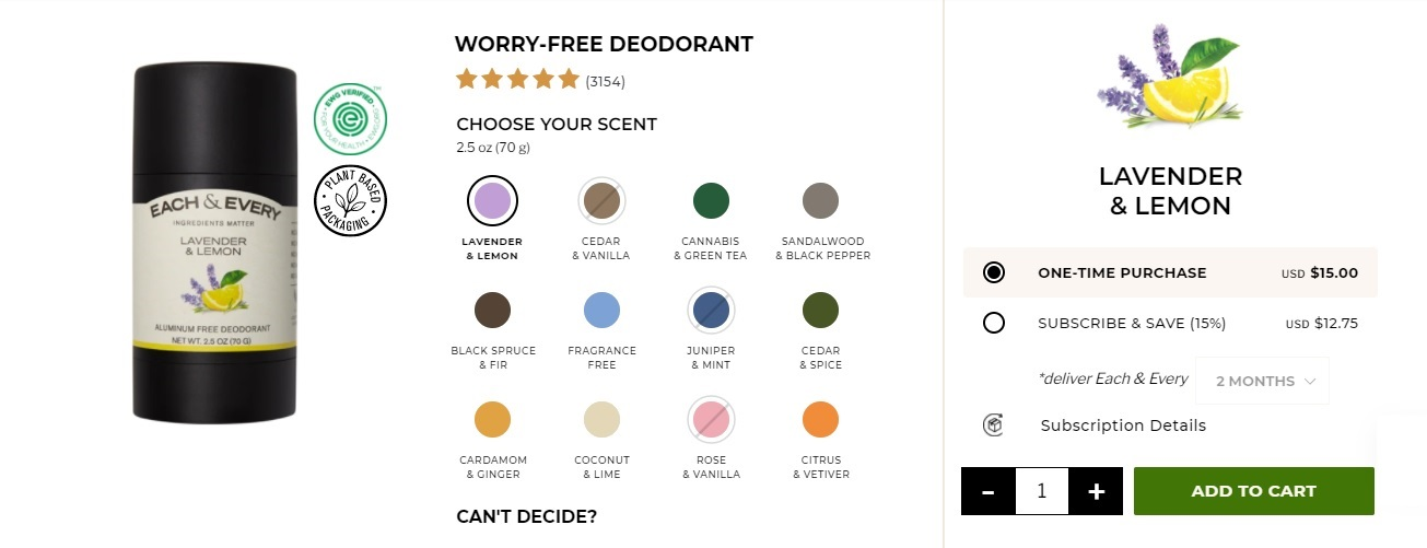 screenshot of Each and Every's worry-free deodorant