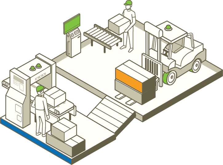 eCommerce Fulfillment Warehouse with forklift transporting packages.