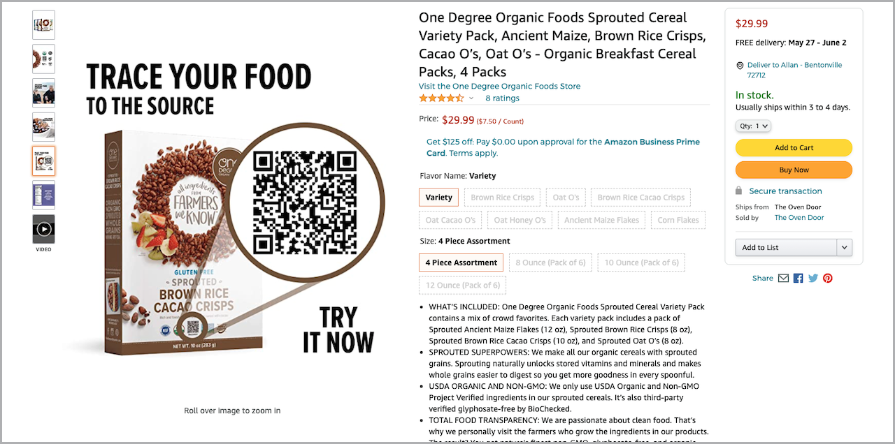 One Degree Organic Foods Amazon Listing